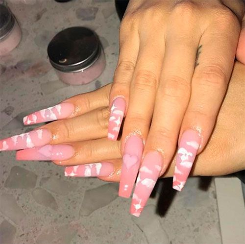 Cute Coffin Shaped Valentine Day Nails Valentinenails Coffinnails Ombrenails Valentine S Day Nails Valentines Nails Nail Designs Valentines