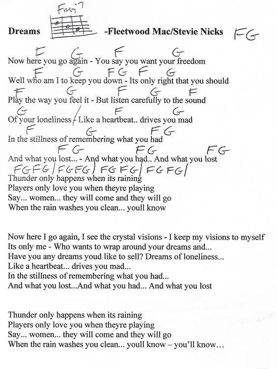 Little Lies Fleetwood Mac Guitar Chord Chart Capo 2nd Fret