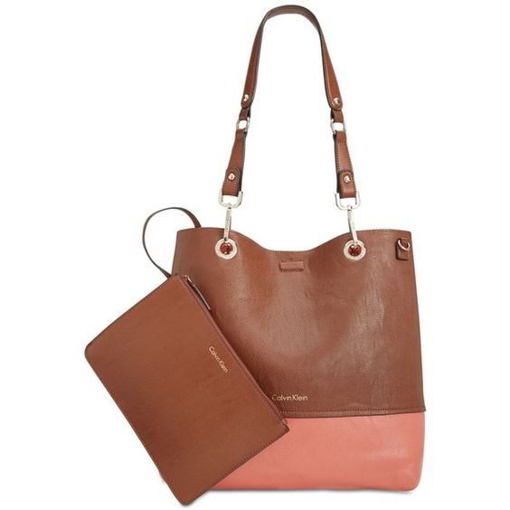 Calvin Klein Reversible Tote With Pouch ($148) ❤ liked on Polyvore featuring bags, handbags, tote bags, brown leather pouch, brown leather purse, reversible leather tote, brown tote and monogrammed tote bags