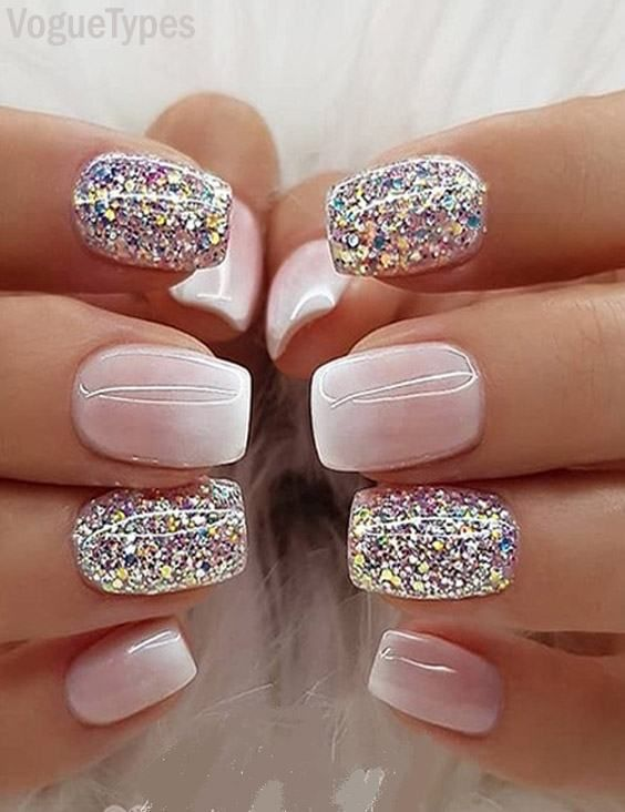 Milky white Ombre Glitter Nail Designs \u0026 Images for Ladies