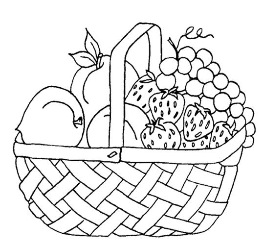 Strawberry And Other Fruit In The Basket Coloring Page