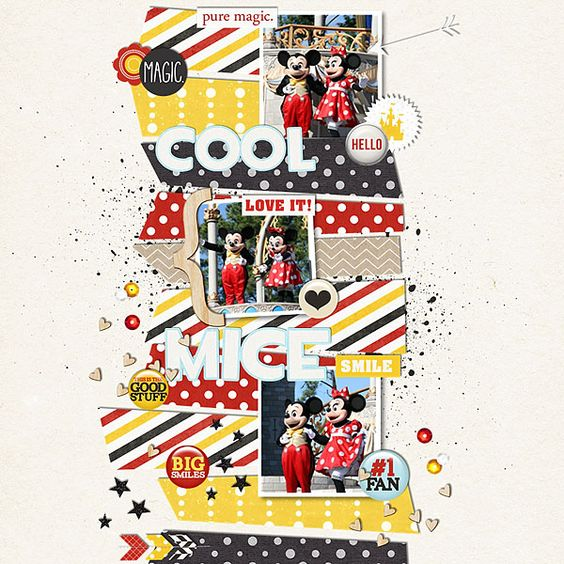 COOL!  Disney Mickey Minnie Digital Scrapbook layout using Project Mouse by Britt-ish Designs and Sahlin Studio