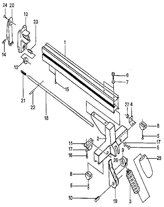 rip fence assembly diagram  u0026 parts list for model bt3000