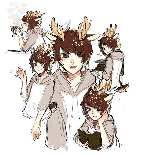 Anime guys, Antlers and Anime on Pinterest