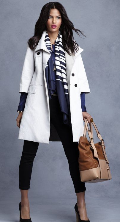 i like the blue (good tone) and the black with the white coat. tan bag is a good neutral to keep the whole of it from looking too coordinated