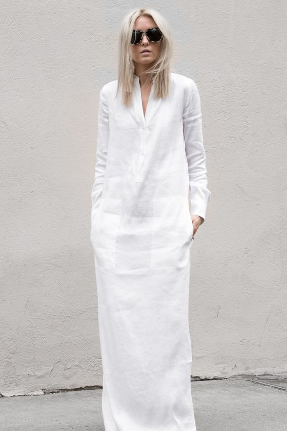 Minimal Chic Style - white linen maxi dress