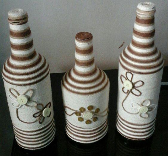 Artesanato Em Garrafa De Vidro Com Barbante ~ garrafas decoradas com barbante garrafas decoradas Pinterest