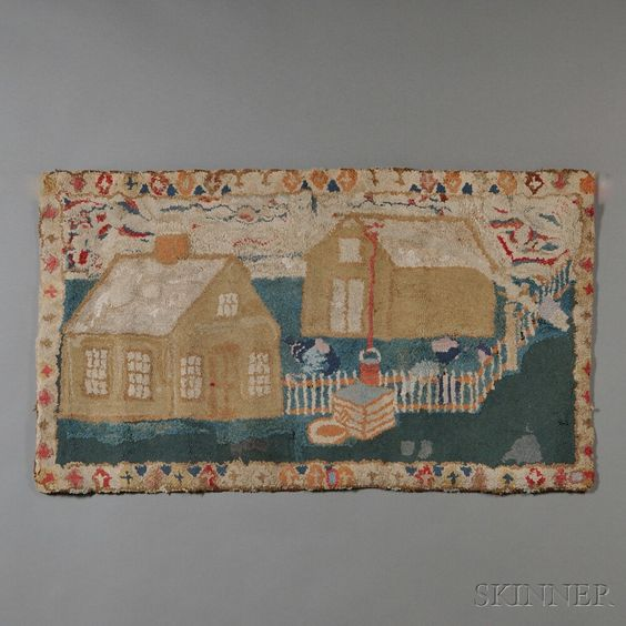 Pictorial Wool Hooked Rug with House | Sale Number 2669M, Lot Number 596 |  Skinner