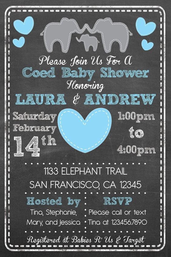 elephant theme coed couples baby shower invitation baby girl or baby