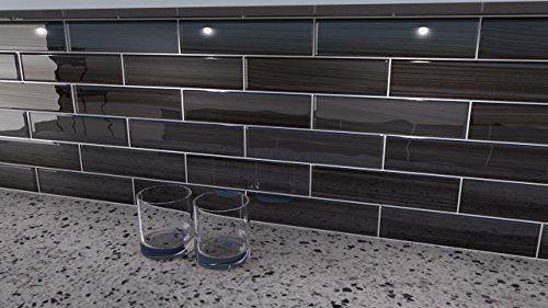 black glass subway tile backsplash