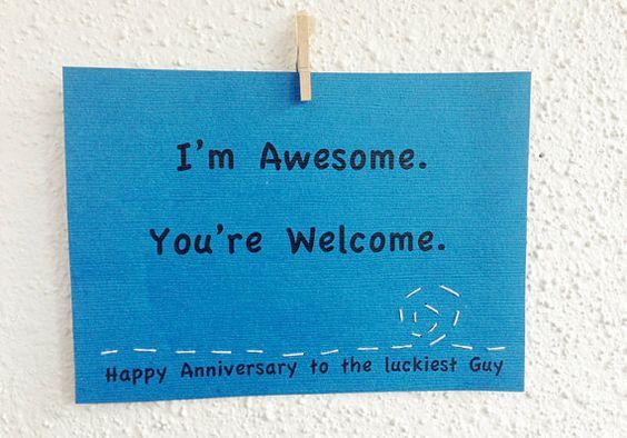 "Boyfriend Anniversary Card. Funny Valentines ""I'm Awesome"