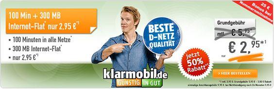Handyvertrag im Telekom Netz für 2,95€ mit 300MB + 100 Freiminuten http://www.simdealz.de/telekom/klarmobil-smart-flat-300mb/