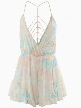 V Neck Tie Dye Romper Playsuit with Strappy Back