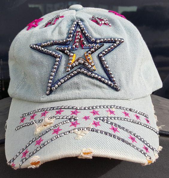 Light Denim Blue Rhinestoned Star Hat