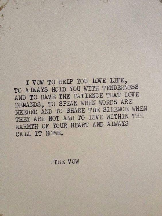I vow . . .
