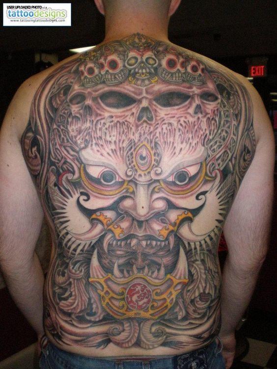 Back Japanese Oni Mask Tattoo  swoon!