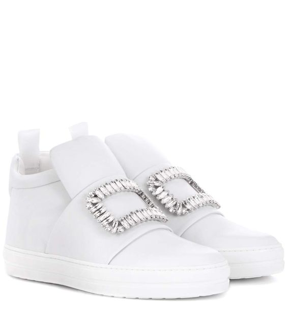 ROGER VIVIER Sneaky Viv Embellished High-Top Leather Sneakers. #rogervivier #shoes #sneakers