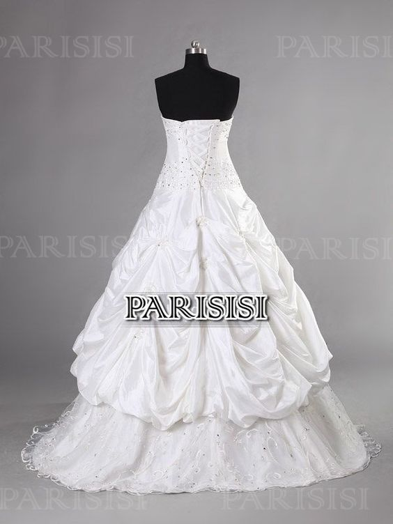 Pick Up Sin tirantes Tren Capilla Encaje Champán vestidos de novia