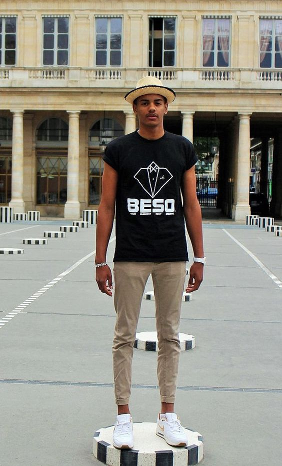 BESO T-Shirt men, black, printing / phosphorescent white, 100% cotton, 185 g/m2
