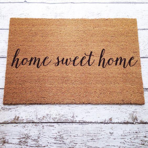 Home Sweet Home Welcome Mat Doormat Door Mat Gift By