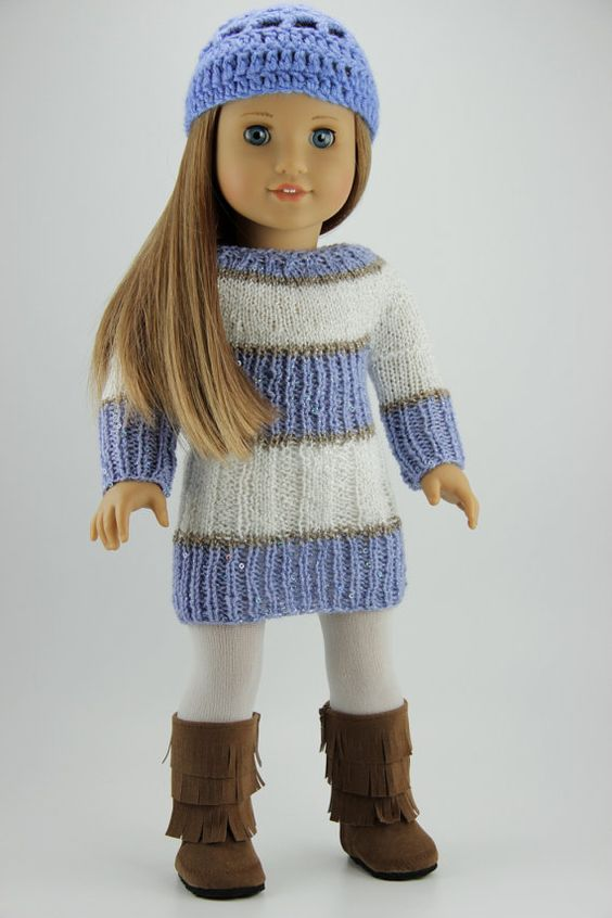 Free Knitting Patterns For Doll Clothes 18 Ins : American Girl doll clothes - Periwinkle hand knitted sweater dress with free ...