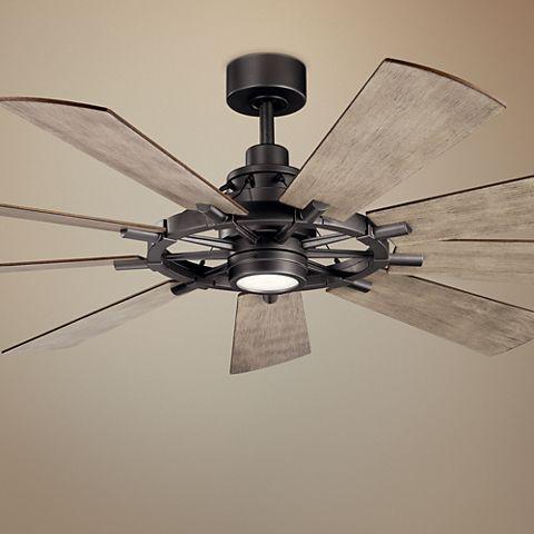 65 Kichler Gentry Anvil Iron Led Ceiling Fan 65c53 Lamps Plus Ceiling Fan Led Ceiling Fan Ceiling Fan With Light