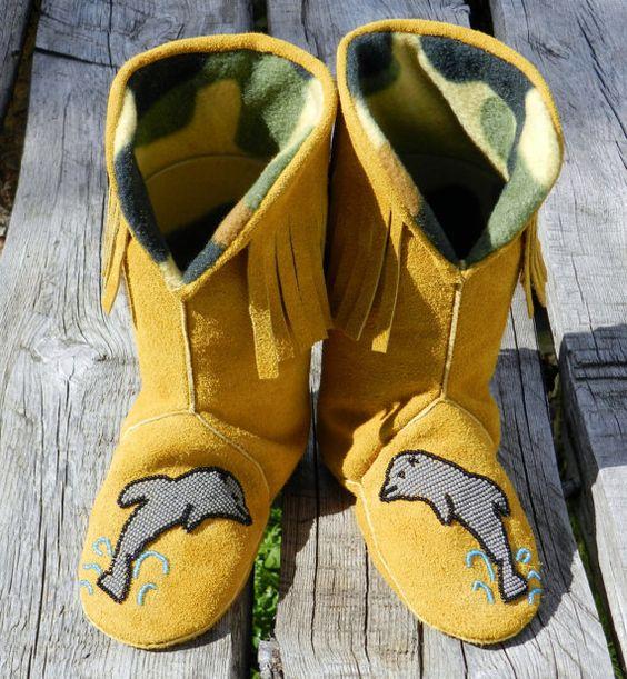 Handbeaded Fringed Boot by hummingbirdcreation1 on Etsy, $119.99