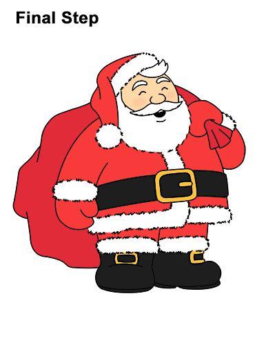 Draw Santa Claus How To Draw Santa Santa Claus Drawing Drawings