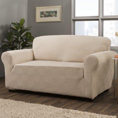 Symple Stuff Diamond Box Cushion Sofa Slipcover Wayfair Loveseat Slipcovers Love Seat Slipcovers For Chairs