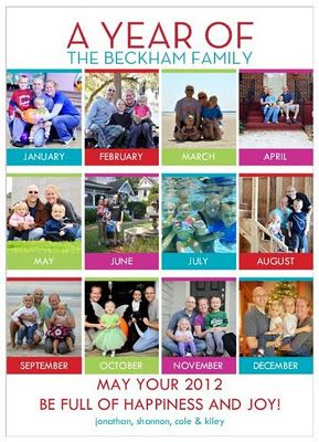 Take a family photo each month.  Makes a great Christmas card and photo book.