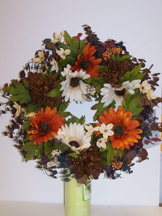 Natural eucalyptus wreath with autum flowers