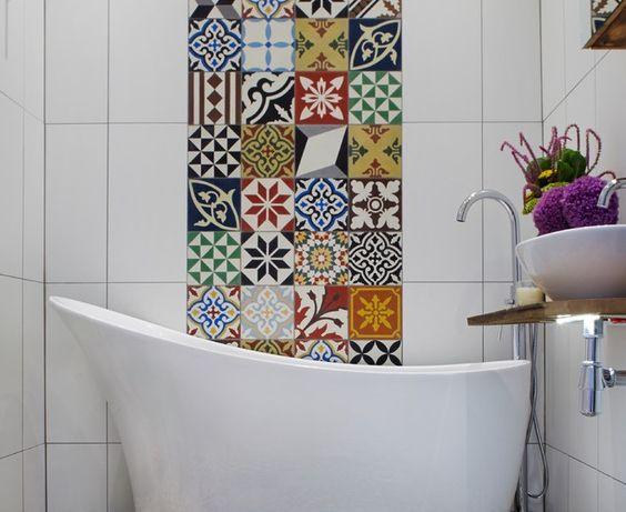 Magnificent Mexican Tiles  look London Mediterranean Bathroom Decoration ideas…