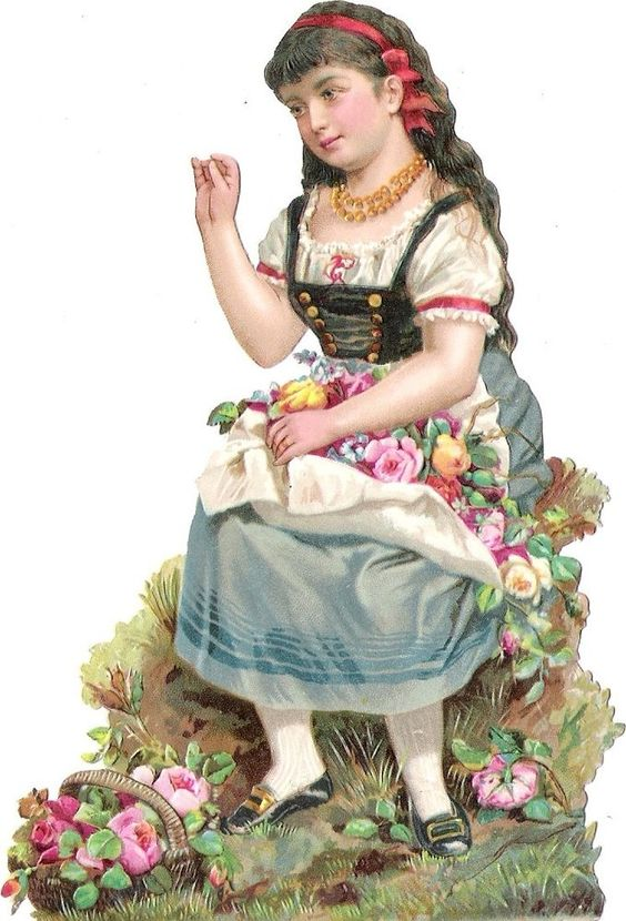 Oblaten Glanzbild scrap die cut chromo Mädchen Kind child girl Tracht Rose Korb: