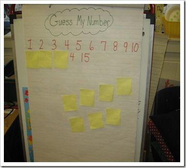I choose a number in my head then the students have to guess.   For example if I'm thinking of 10 and a student says is your number 7, I'll say my number is more than seven. Then they have to tell me which numbers to cover up because they will be excluded from the guess.