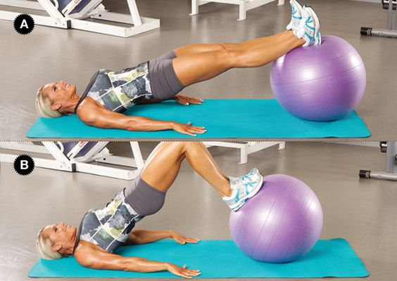Hamstring Curl: Keeping your hips lifted, bend your knees to pull the ball toward your glutes (concentric contraction). Pause at the top (isometric), then straighten your legs and return the ball to the starting position (eccentric), but keep your hips lifted.