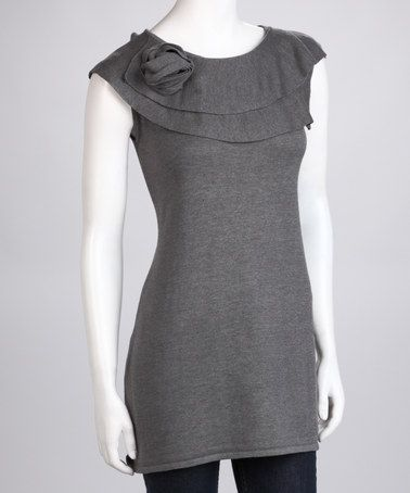 Gray Knit Flower Sleeveless Tunic by Simply Chic: Sweaters & Tops on #zulily today!