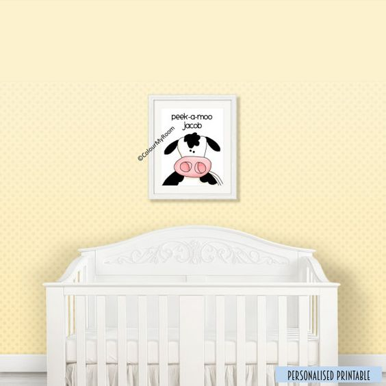 PEEK A MOO COW Personalised 8x10 Printable Baby by ColourMyRoom