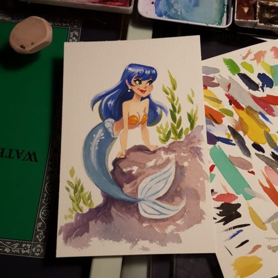 Gouache mermaid! #stephlew #gouache #watercolor #artoftheday
