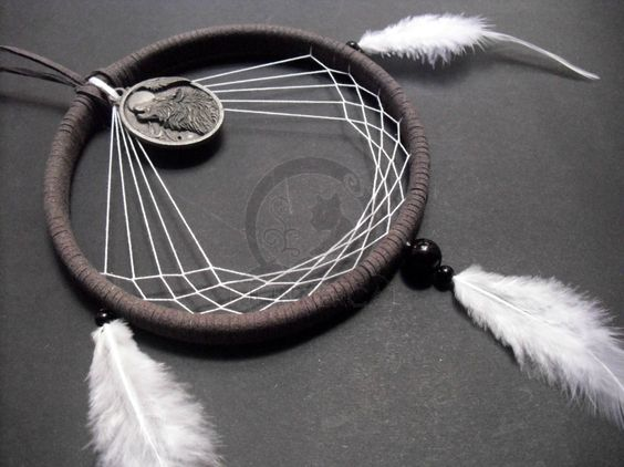 Moon howling wolf dream catcher hand made by theinnercat for Dreamcatcher weave patterns