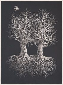 Two Trees, etching