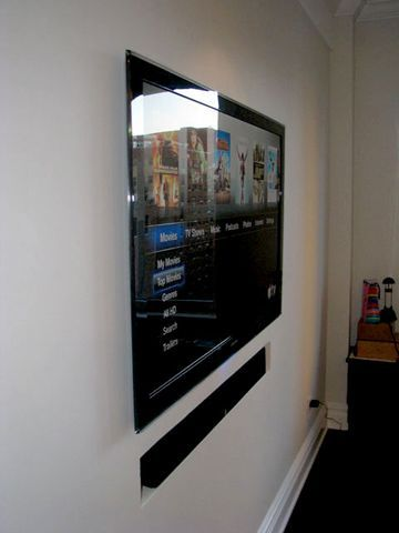 Led Tv Flush In The Wall In Living Room Swings Out To View From Kitchen Wall Mounted Tv Tv Wall Mount Designs Tv Wall