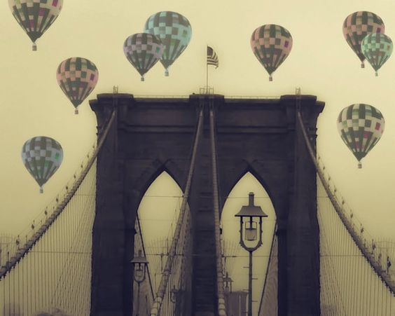 balloons over brooklyn bridge by maybesparrowsplace on etsy