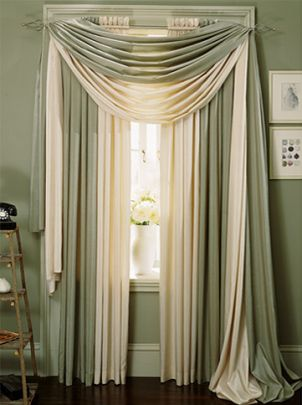How to drape a scarf valance homemade silk and window - Pictures of different ways to hang curtains ...