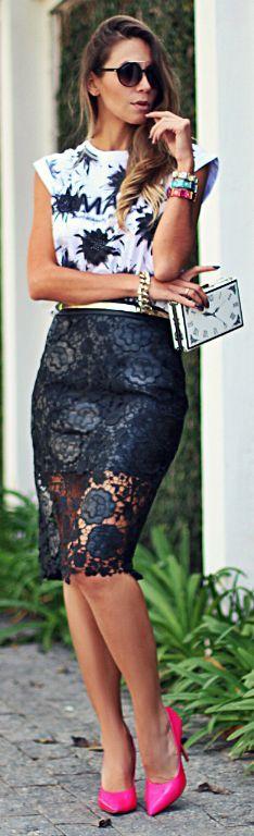 Moikana Black Lace Pencil Midi Skirt by Decor e Salto Alto