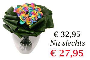 Aanbieding boeket dozijn regenboog rozen http://www.regioboeket.nl/dozijn-regenboog-rozen