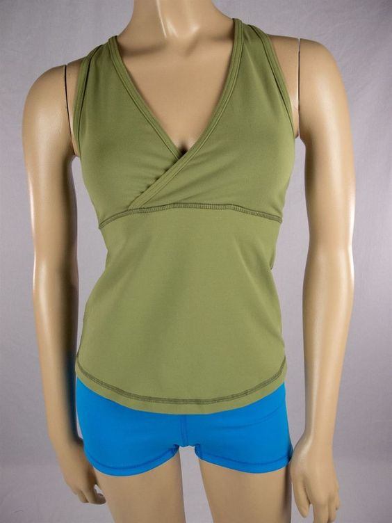 LULULEMON Deep V Green Tank Top Sz 8