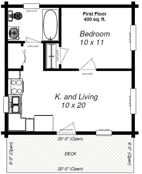 Maverick 400 Sq Feet Make A Loft For The Kids One Bedroom House Small House Floor Plans Cabin Floor Plans