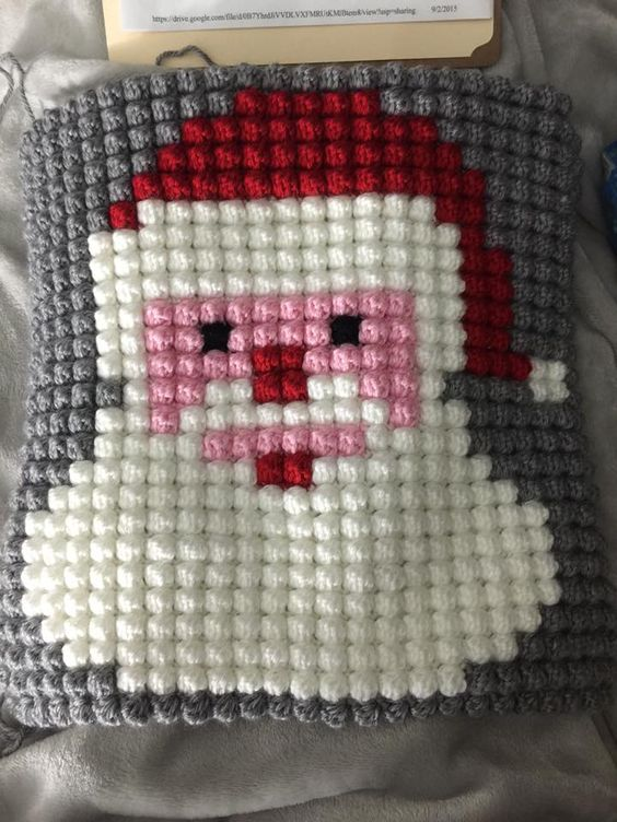 Free Crochet Bobble Stitch Afghan Patterns : Christmas Character Afghan using Bobble Stitch ...