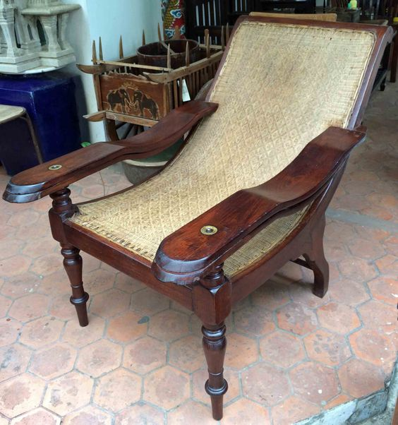 Antique Plantation Chair from Burma, teak and rattan, with original brass  fittings and rattan - Antique 19th C Planters Reclining Chair Chaise Teak And Cane