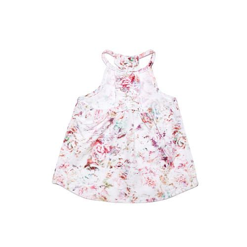 This Kardashian Kids girls floral halter top is a perfect fit for your little lady. The ruffle back adds a cute finish to this ultra trendy piece.  Pair with our Kardashian Kids girls biker style cargo pants or chambray skort and she will be ready to hit the town!<br><br>94% POLYESTER/6% ELASTANE